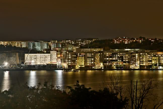 Stockholm cityscape at night - free stock photo